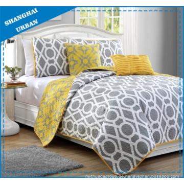Wende-Bettwäsche-Set aus Polyester in Gelbgrau mit Kreisdruck Print