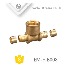 EM-F-B008 Encaixe de tubulação pex de rosca fêmea tee latão