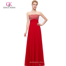 Grace Karin Strapless Backless rebordeado largo vestido de fiesta rojo CL3083-1