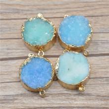 Mix couleur Druzy Drusy pendentif connecteurs Nature Druzy Geode Quartz pierres Druzy Gemstone plaqué or Pendentif Agate