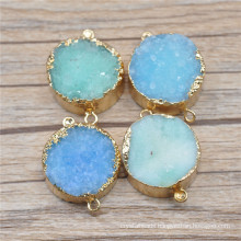 Mix Color Druzy Drusy Agate Pendant Connectors Nature Druzy Geode Stone Druzy Quartz Gold Plated Gemstone Pendant