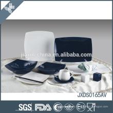 Jogo de jantar colorido da porcelana do quadrado de 65PCS, jogo de jantar branco e azul