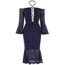 Kate Kasin Sexy Womens Off the hombro de encaje Hips-Wrapped sirena azul marino bodycon lápiz vestido KK001050-1