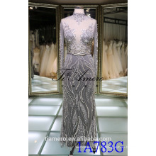 1A783G Sexy Smoky Grey See Through With Lace Long Sleeve Muslim Wedding Dress 2016