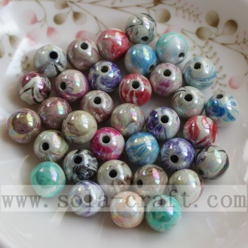 AB Colors Draw Printing Acrylic Round Spacer Beads for DIY Jewelry