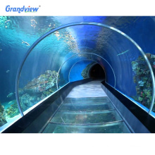 non yellowing lucite raw material large transparent acrylic tunnel thick glass tunnel swimming pool walls