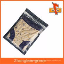 Bolsa de plástico ziplock de aluminio transparente para el embalaje de ropa interior