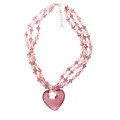 pink multi strand crystal beaded heart pendant statement necklace for woman