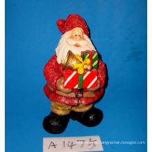 Polyresin Santa com Presentes para Decoração de Natal