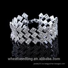Tres en una de plata de múltiples capas de moda de cristal pulsera