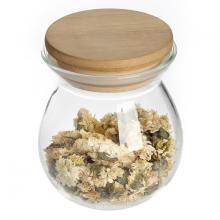 Recipiente hermético para armazenamento de vidro com tampa de bambu