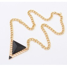 New Top Selling Fashion Design Jewelry High Quality triangle acrylic stone pendant chain Necklace For Women 3 colors available