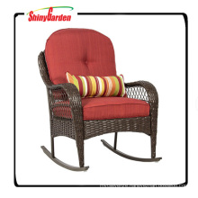 Patio Porch Deck Furniture Rattan Wicker Rocking Chair with Cushions