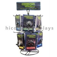 Qualidade 16 Ganchos de arame 2-Tier Black Metal Rotating Custom Signage Keychain Display Countertop