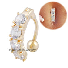 Christmas Gifts Round Clear Zircon 18K Gold Sexy Belly Ring