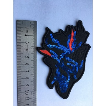 Wolf design flag sequins embroidery patches