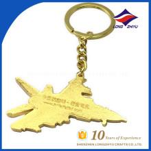 Aviones personalizados al por mayor del metal del oro llavero personalizado