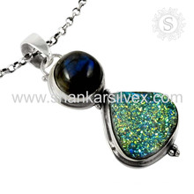 New Stunning Druzy, Labradorite Gemstone Pendant Handmade 925 Sterling Silver Jewelry Indian Wholesale Online Jewelry
