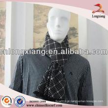 Mens Fashion Silk Black Grey Plaid Scarf
