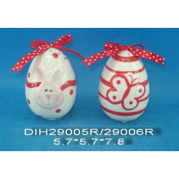 Salpadores de sal e pimenta de ovos cerâmicos pintados à mão