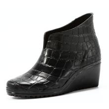Short Crocodile Wedge Heel Rubber Rain Boots