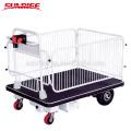 Nuevo almacén de diseño que entrega el camión eléctrico de la plataforma de elevación de tijera