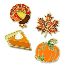 Gullig Thanksgiving Pumpkin Pie Metal Knappspets Set