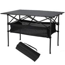 Mesa de viaje plegable de aluminio con cesta de almacenamiento