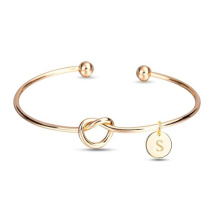 Personalized Bridesmaid Gift Bracelet Coin Engraved Initial Logo Name Open Cuff Knot Bracelet  Blank