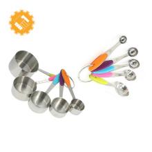Juego de tazas medidoras y cucharas medidoras de acero inoxidable para utensilios de cocina de 10 piezas