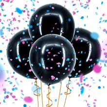 Gender Reveal Balloons Confetti Decoration Kit para niña o niño? Confeti rosado azul y dorado, negro gigante de 36 ''