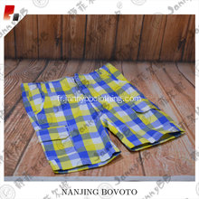 Summer beach yellow white blue check shorts