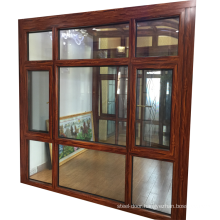 High quality wooden color German brand hardware Aluminum casement window double glazed windows