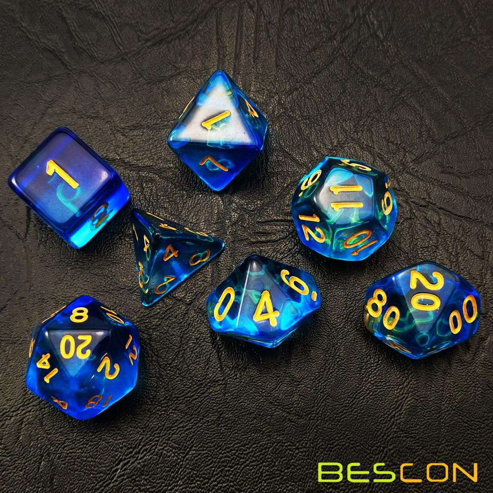 Bescon Crystal Blue 7-pc Poly Dice Set, Bescon Polyhedral RPG Dice Set Crystal Blue
