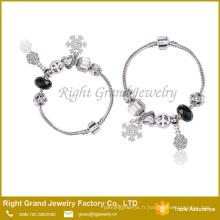 Perles en métal coeur Bracelet en argent Bracelet chaîne serpent