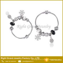 Heart Metal Beads Silver Bracelet Snake Chain Bracelet