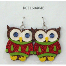 Lovely Owl Sticker Earrings with Metal