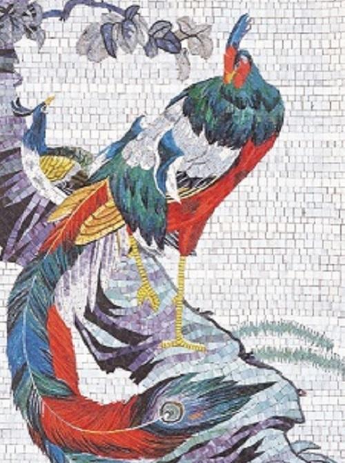 Kindergarten mosaic art realistic animal mural
