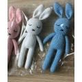 Fashion Milk Cotton Yarn Crochet Custom Size Safe Organic Bunny Plush Toys Crochet Rabbit Toy