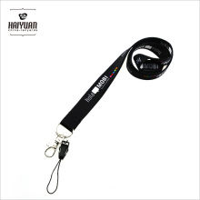 Full Color Black Slippy Polyester Lanyard with Phone Clip