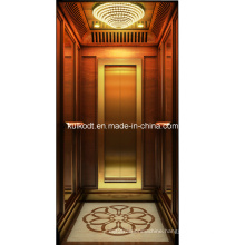 Villa Elevator with Wooden Ti-Gold Stainless Steel (KJX-BS03)