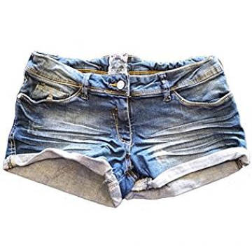 Damen Washed Distressed Denim Schwarze Shorts Hotpants