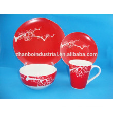Vaisselle en céramique 16pcs / céramique en céramique / ensembles de plats rouges