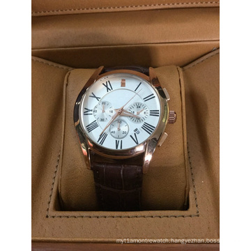 Fashion Brown Leather Watch with 3eyes Quartz Movement