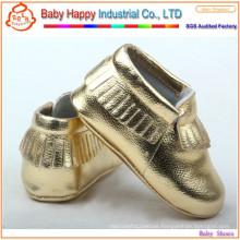 Popular all market 100% sheep leather fringes baby Moccs