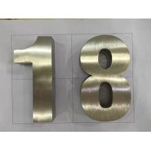 Non-Iluminado 3D escovado de aço inoxidável número ou sinal de letra