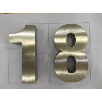 Signo de letra o número de acero inoxidable cepillado 3D no iluminado