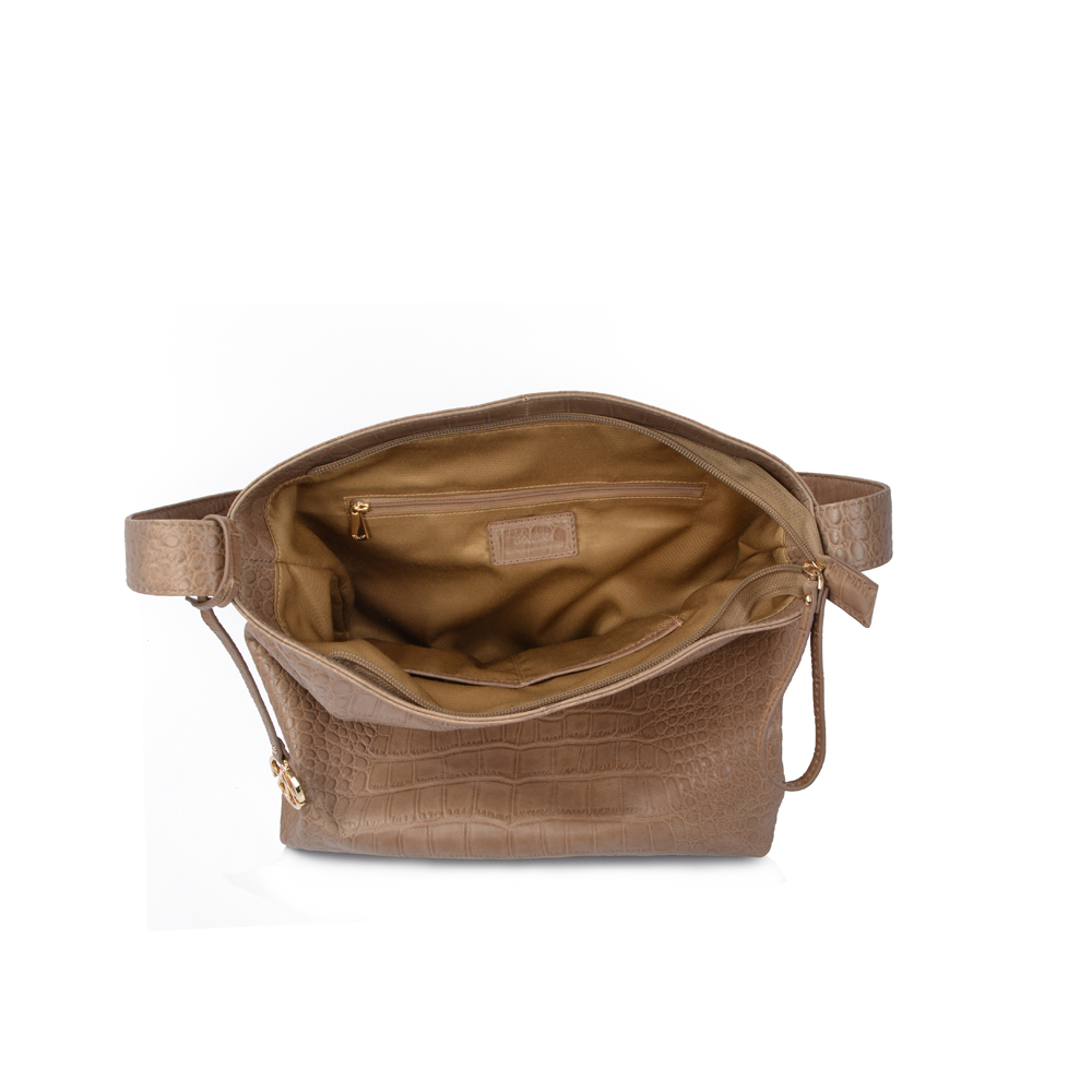 simple style natural pebbled leather hobo bag