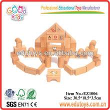 Juguete del bloque del alfabeto de la madera natural