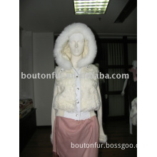 Knitted jacket with lamb fur